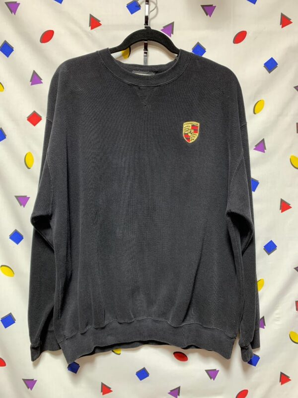 product details: PORSCHE EMBROIDERED CREST RIBBED PULLOVER SWEATSHIRT AS-IS photo