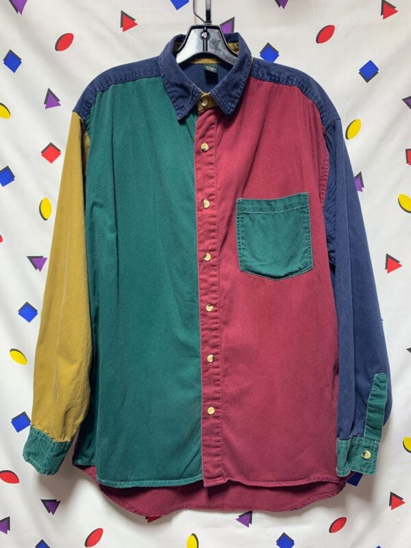 product details: AWESOME 1990S COLOR BLOCK LONG SLEEVE BUTTON DOWN COTTON SHIRT photo