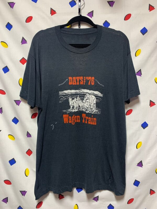 product details: RETRO DAYS OF 76 WAGON TRAIN GRAPHIC SINGLE STITCH T-SHIRT AS-IS photo