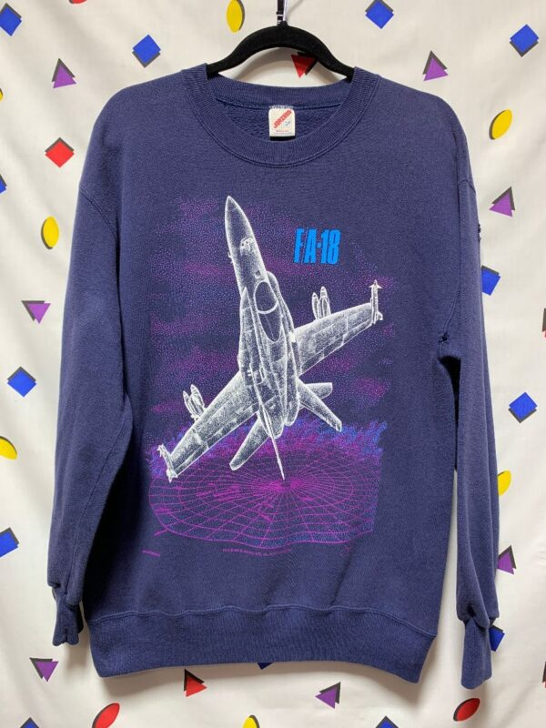 product details: PULLOVER SWEATSHIRT FA-18 FIGHTER JET GRAPHIC AS-IS photo