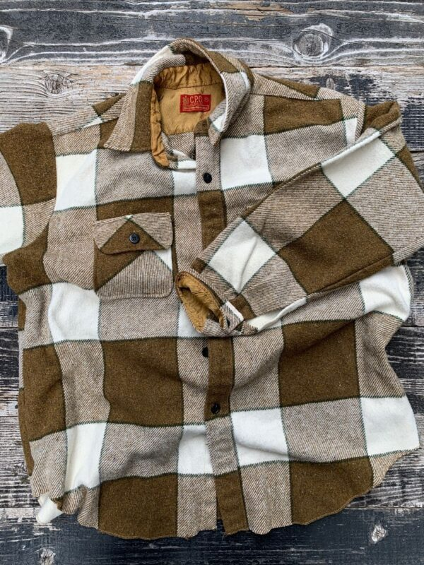 product details: RETRO 1960S-70S THICK WOOL WORK WEAR HEAVY FLANNEL SHIRT JACKET AS-IS photo
