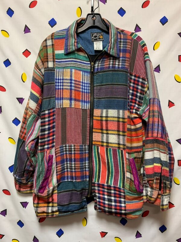 product details: FUNKY MADRAS PLAID MULTI PRINT PATCHWORK ZIPUP COTTON JACKET SIDE POCKETS photo