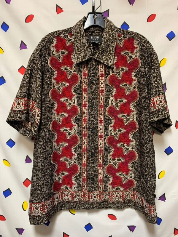 product details: 1990S DRAGON PRINT POLYESTER LOUNGE RETRO STYLE BOWLING CUSTOM FIT SHIRT photo