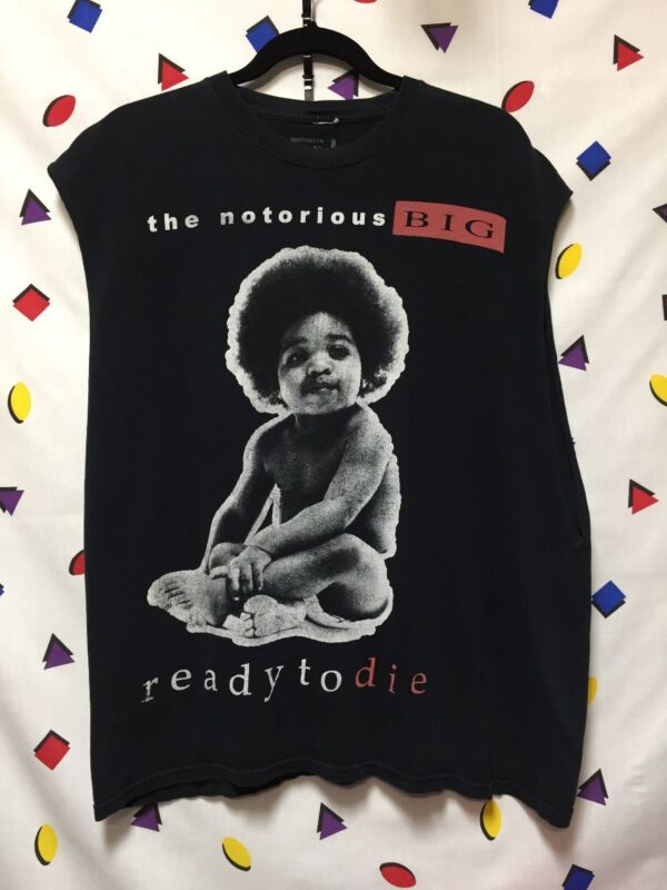 product details: THE NOTORIOUS BIG READY TO DIE ALBUM COVER CUTOFF MUSCLE TANK photo