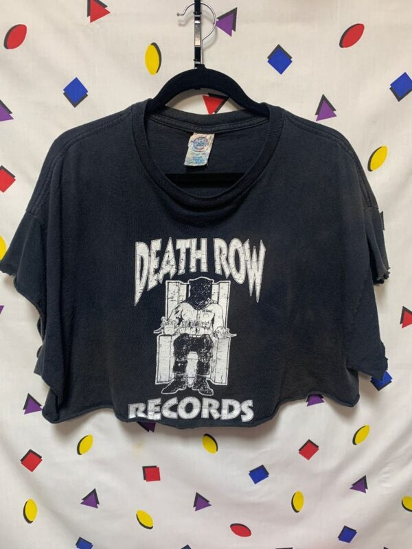 product details: DEATH ROW RECORDS ELECTRIC CHAIR LOGO CUTOFF CROPPED TSHIRT photo