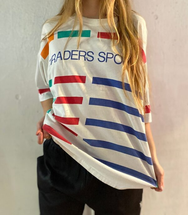product details: TRADERS SPORT T-SHIRT WITH BLOCK STRIPE PATTERN AS-IS photo