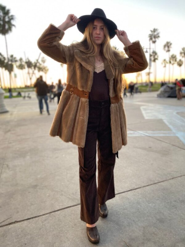 product details: 1960S FAUX FUR SUEDE PANEL TRENCH JACKET photo