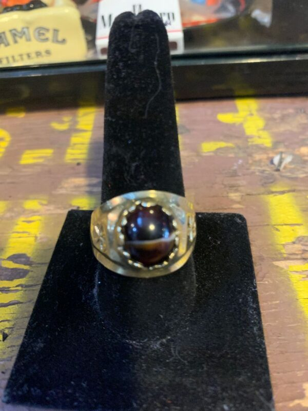 product details: GOLD RING TIGERS EYE STONE *STAMPED 14K photo