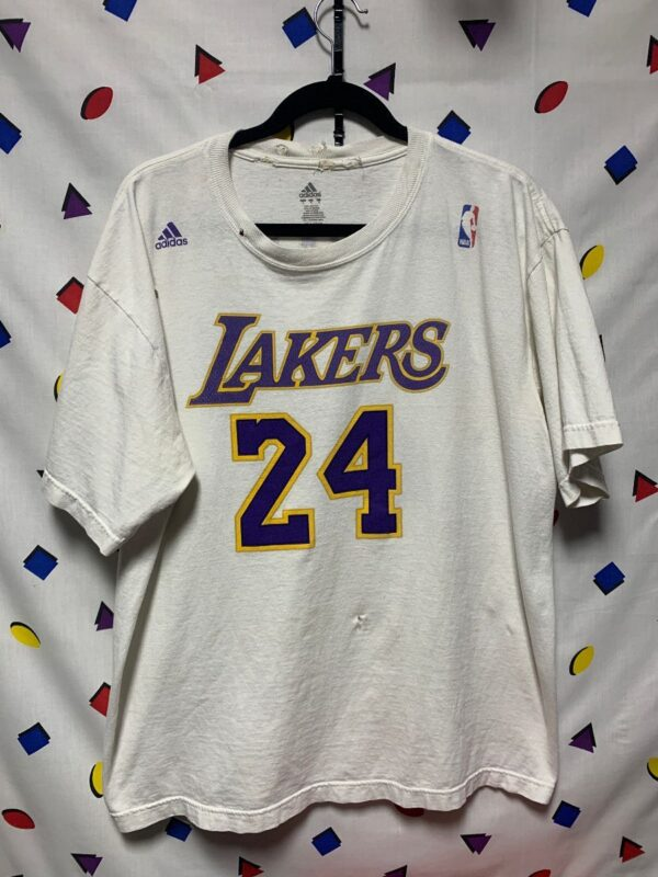 product details: HEAVILY DISTRESSED KOBE BRYANT #24 JERSEY GRAPHIC T-SHIRT AS-IS photo