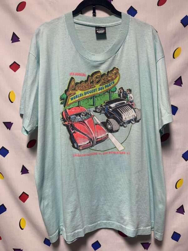 product details: CLASSIC CAR 1991 LEAD EAST NEW JERSEY ANNUAL 50S PARTY VINTAGE PRINT TSHIRT AS-IS photo