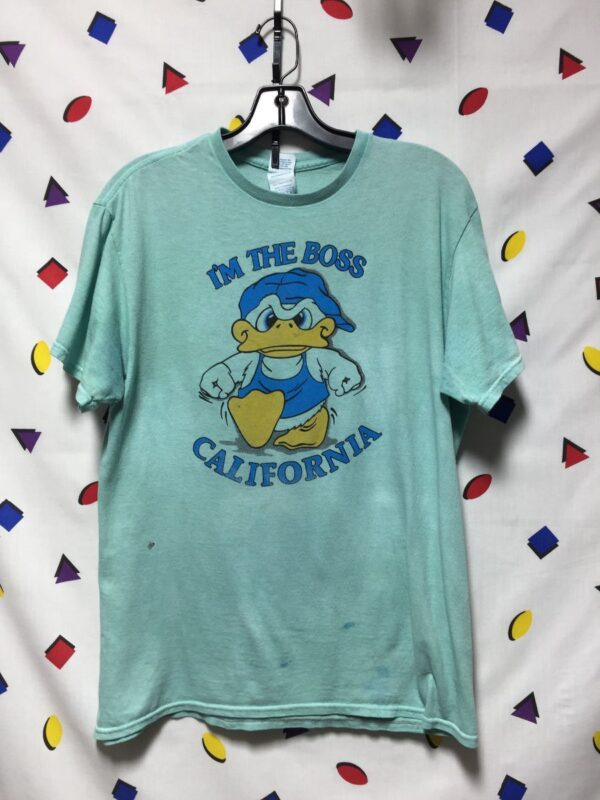 product details: RETRO  IM THE BOSS ANGRY MAD DUCK CALIFORNIA TSHIRT COTTON photo