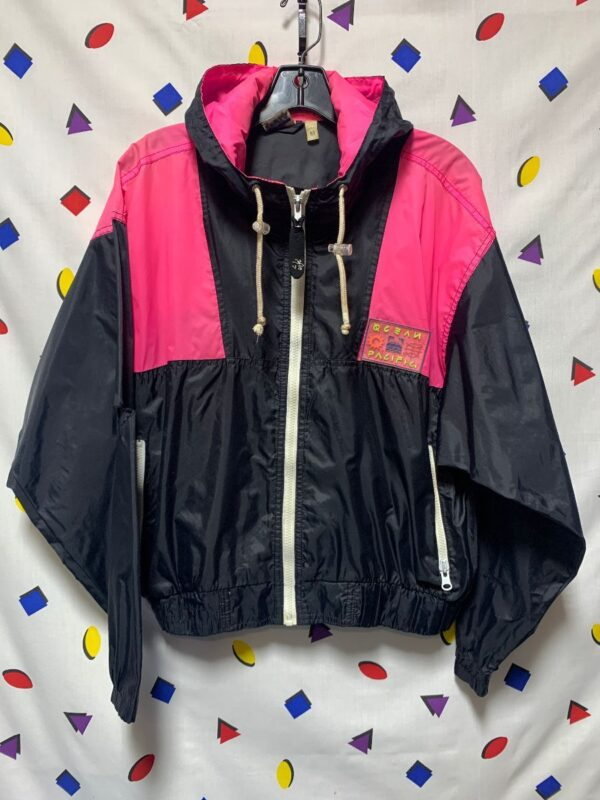 product details: VINTAGE OP 90S NEON PINK BLACK COLORBLOCK FULL ZIP HOODED ZIPPER POCKETS photo