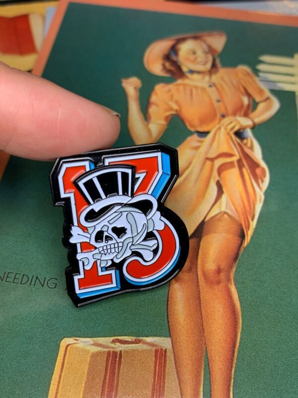 product details: NEW PIN - LUCKY 13 SKULL photo
