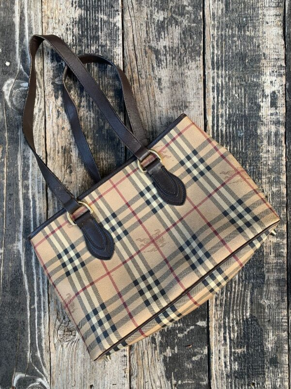 product details: SWEET BURBERRY NOVA CHECK PATTERN DOUBLE HANDLE PURSE AS-IS photo