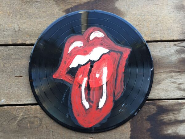 product details: HANDPAINTED ROLLING STONES LIPS ART RECORD UPCYCLED HOME DECOR VINYL photo