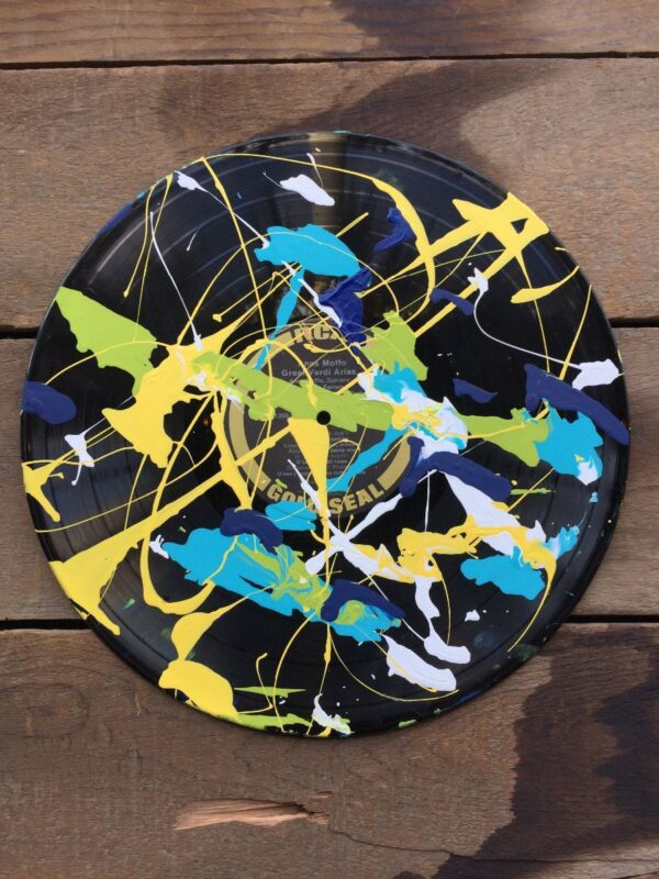 product details: HANDPAINTED SPLATTER PATTERN JACKSON POLLOCK STYLE ABSTRACT EXPRESSIONIST ART RECORD photo