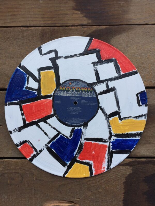 product details: HANDPAINTED MODERN ART MONDRIAN STYLE ART RECORD MOTOWN COMMODORES LIVE photo