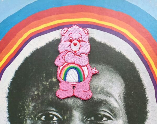 product details: CARE BEARS PINK CHEER BEAR RAINBOW EMBROIDERED PATCH photo