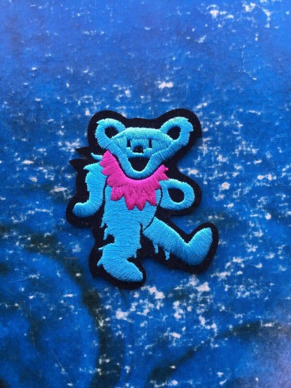 product details: GRATEFUL DEAD DANCING BEAR BLUE PINK COLLAR EMBROIDERED PATCH photo