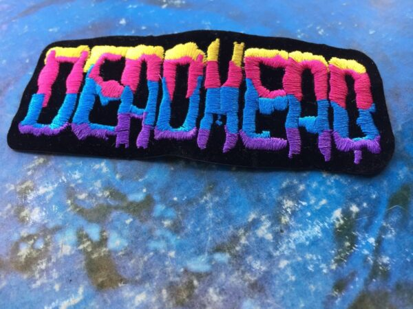 product details: DEADHEAD DRIPPING  LETTERS GRATEFUL DEAD LOGO MULTICOLOR EMBROIDERED PATCH photo