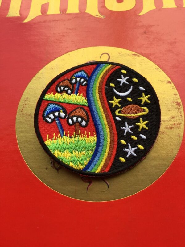 product details: MUSHROOM TRIPPY MILKYWAY STARS SATURN RAINBOW EMBROIDERED PATCH photo