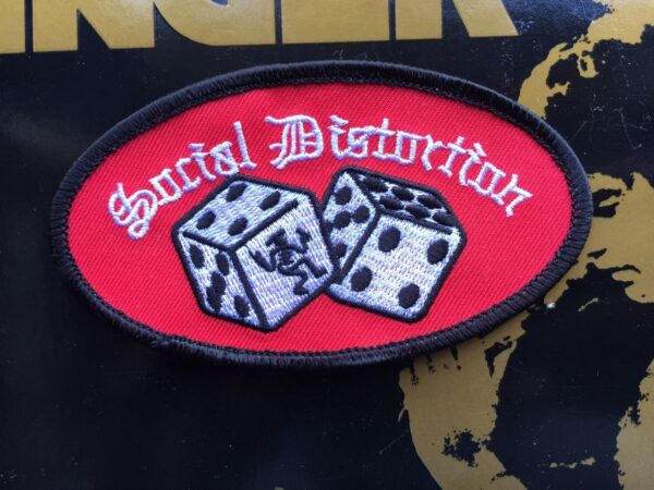 product details: SOCIAL DISTORTION DICE LOGO EMBROIDRED PATCH photo