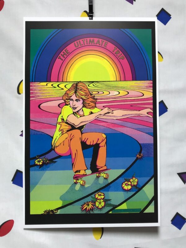 product details: THE ULTIMATE TRIP SKATEBOARDING AT SUNSET PSYCHEDELIC ART PRINT POSTER photo