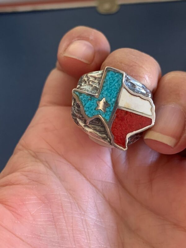 product details: TEXAS OUTLINE LONE STAR STATE TURQUOISE CORAL INLAY SILVER PLATED BRONZE BIKER RING photo