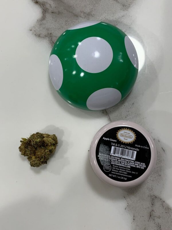 product details: SUPER MARIO BROS. GREEN MUSHROOM CANDY TIN CONTAINER photo