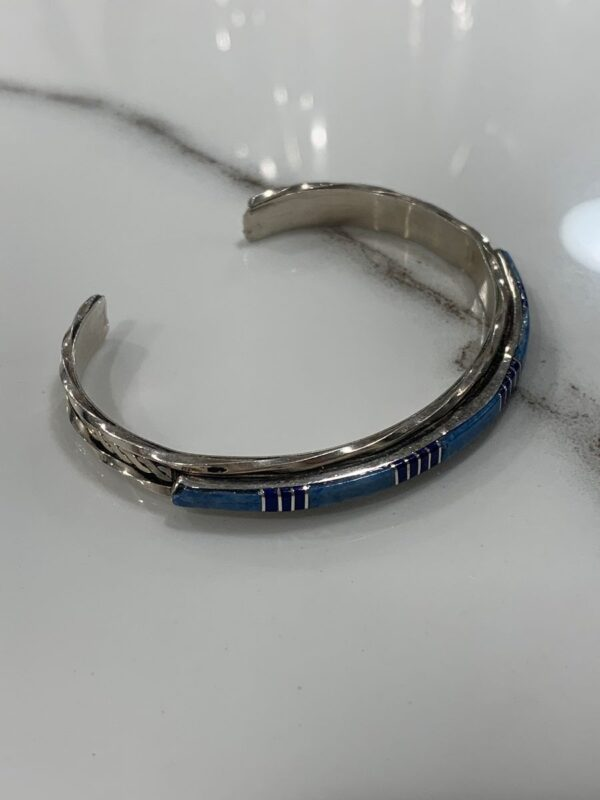 product details: STERLING SILVER 925 INLAY BRACELET *SIGNED photo