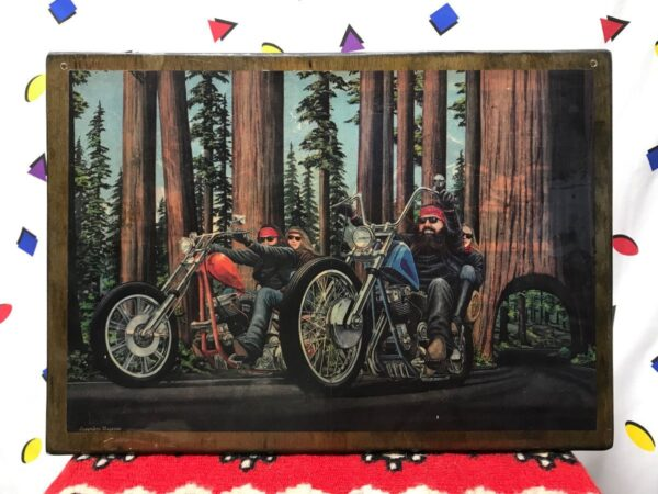 product details: RARE VINTAGE 70S DAVID MANN EASY RIDER PRINT WOOD RESIN MOTORCYCLE BIKER ART REDWOOD RUN photo