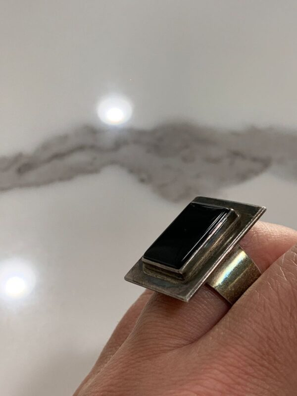 product details: 925 STERLING SILVER RECTANGULAR FRAMED ONYX BLACK STONE RING *SIGNED 950 JA photo