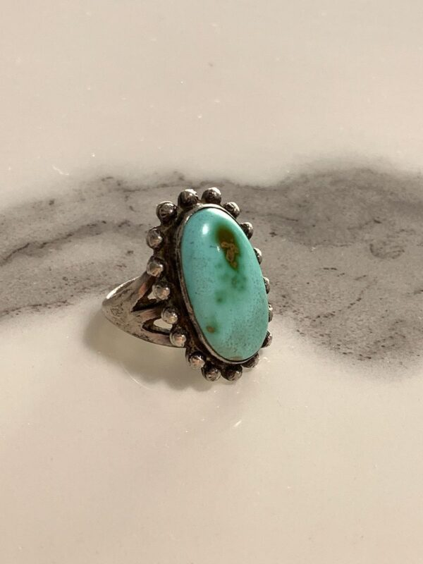 product details: 925 STERLING SILVER OVAL POLISHED TURQUOISE STONE RING photo