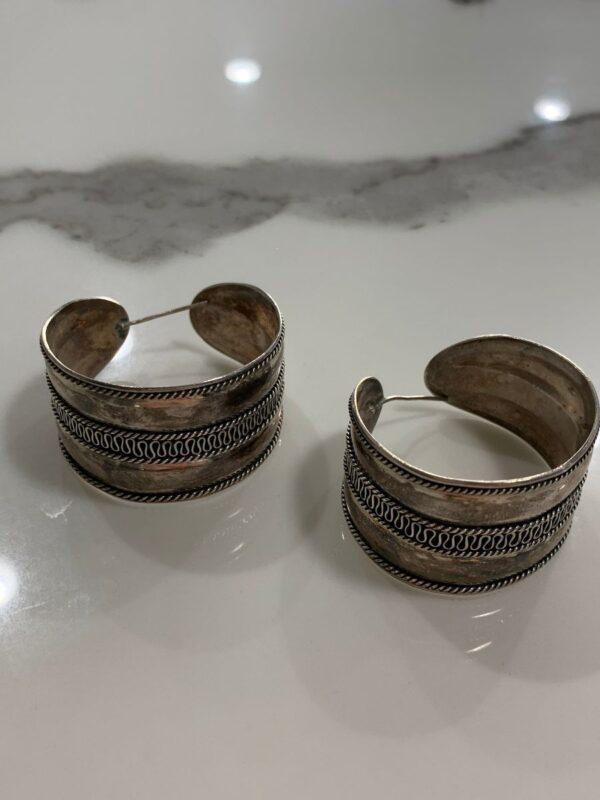 product details: STERLING SILVER 925 WIDE HOOP EARRINGS photo
