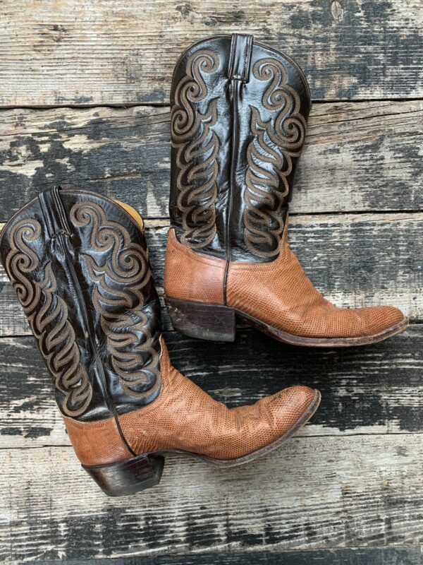 product details: VINTAGE TONY LAMA EMBOSSED LEATHER LIZARD SKIN WESTERN COWBOY BOOTS photo