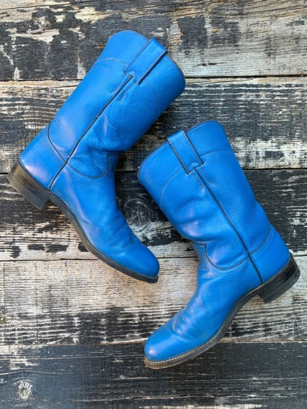 product details: VINTAGE 1990S MID CALF BRIGHT BLUE COUNTRY WESTERN COWBOY BOOTS photo