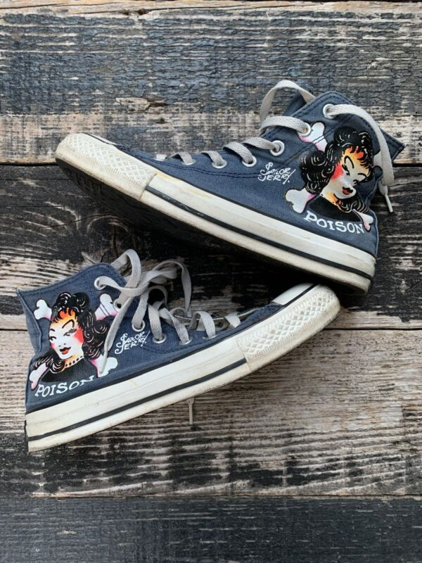 product details: CHUCK TAYLOR ALL STAR SAILOR JERRY POISON GIRL NAVY LACE UP SNEAKERS photo