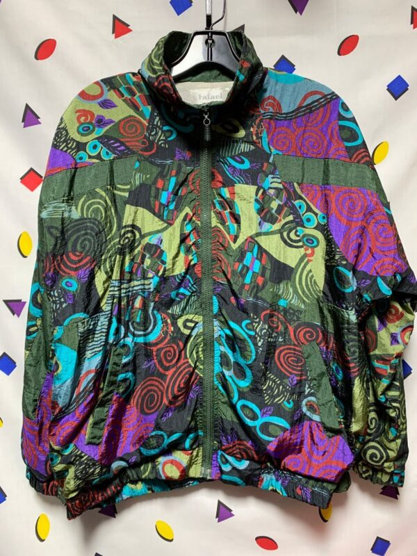 product details: 1980S SWIRL ALLOVER PRINT NYLON SHELL ZIP UP BOMBER JACKET COTTON POLYESTER LINING photo