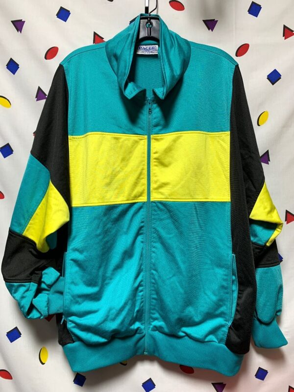 product details: RAD COLORBLOCK 1980S  ZIP UP TRACK STYLE JACKET WITH ZIPPER POCKETS photo