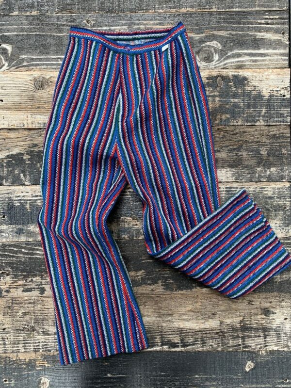 product details: DEADSTOCK SUPER CUTE & CROPPED VERTICAL STRIPED WOOL PANTS NWT NOS photo