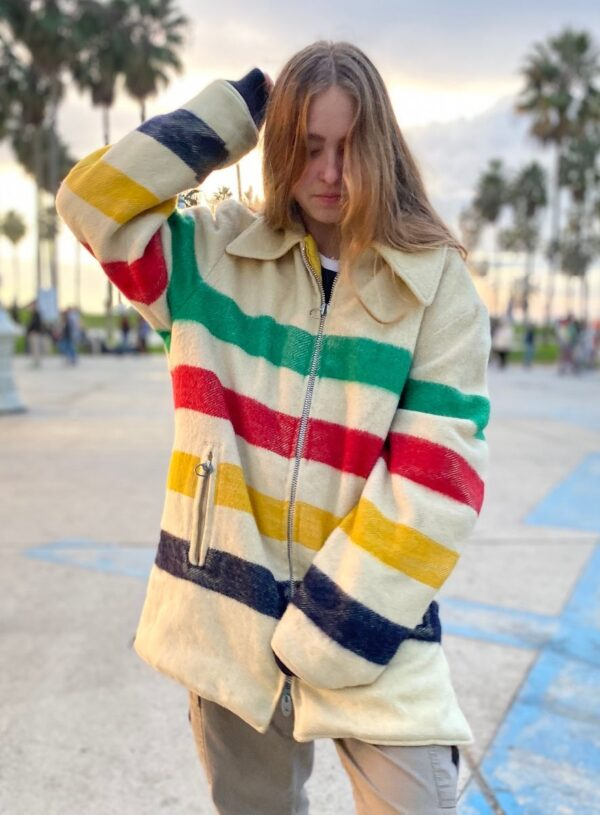 product details: HUDSON BAY STYLE WOOL REVERSIBLE ZIP UP STRIPED JACKET WITH ZIPPER POCKETS photo