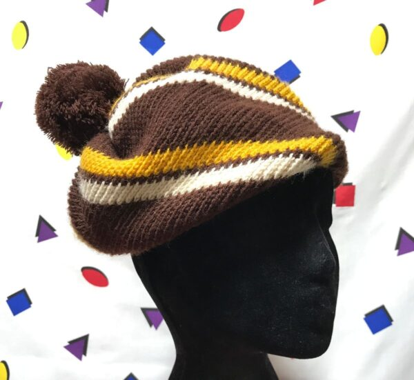 product details: VINTAGE STRIPED BERET STYLE KNIT BEANIE WITH POM POM WINTER HAT photo