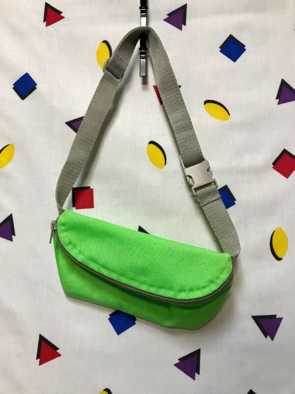product details: NEON GREEN WITH SILVER STRAP SINGLE ZIPPER INTERNAL POCKET FANNY PACK photo
