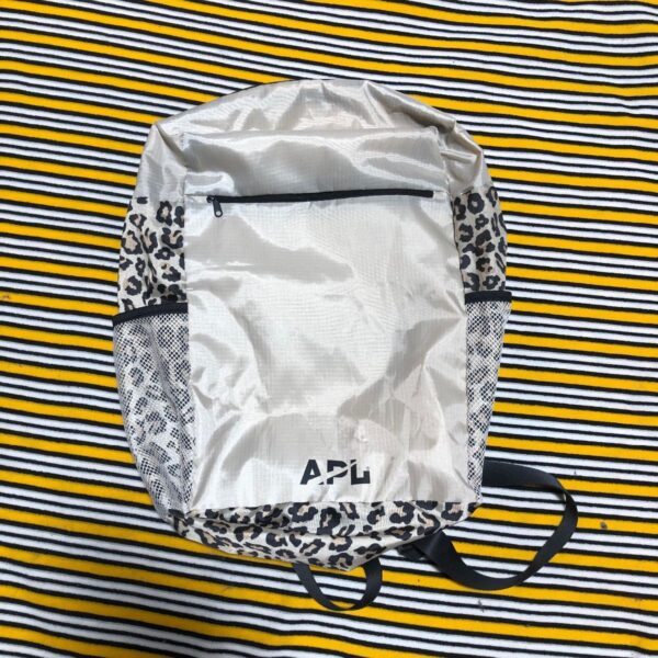 product details: APL LOGO NYLON LEOPARD PRINT LIGHTWEIGHT THREE ZIPPER POCKET BACKPACK photo