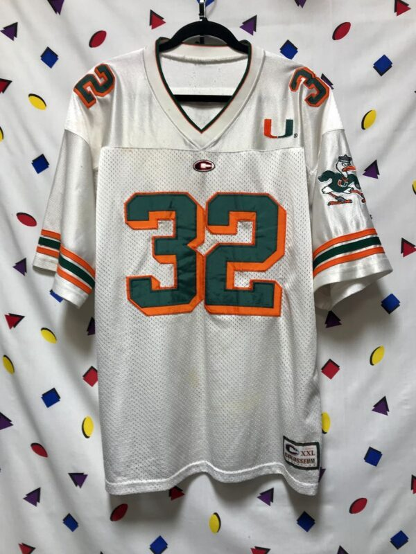 product details: MIAMI HURRICANES FOOTBALL JERSEY NUMBER 32 EDGERRIN JAMES/FRANK GORE SEBASTIAN THE IBIS EMBROIDERED MASCOT ON SLEEVE AS-IS photo