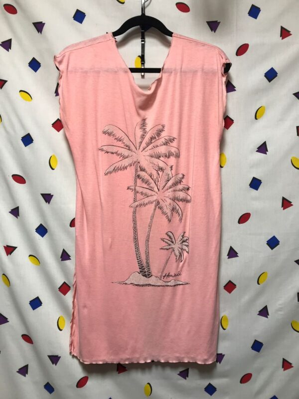 product details: SUPER SOFT SLEEVELESS CASUAL PALM TREE HAWAII DRESS WITH SLITS ON SIDES photo