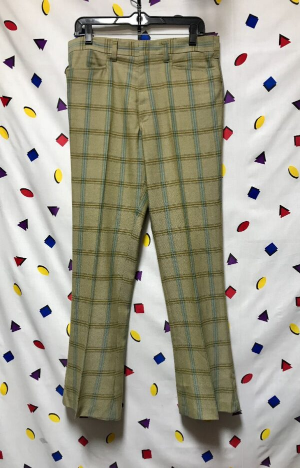 product details: CLASSIC 60S 70S PLAID STRIPED PANTS HOOK AND BAR CLOSURE photo