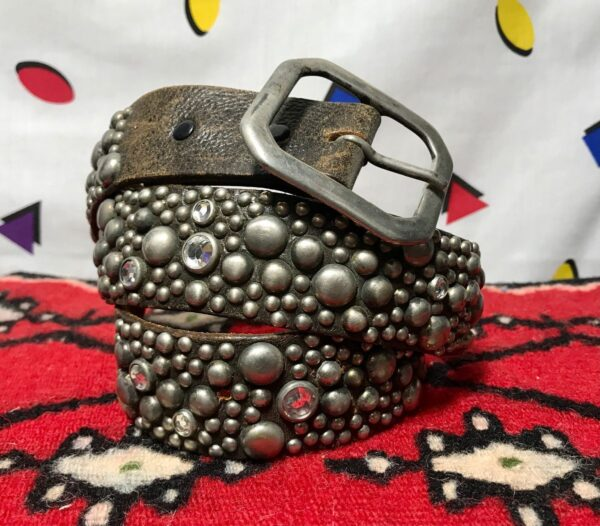 product details: MULTI STUD/ JEWEL SQUARE BUCKLE LEATHER BELT- AS IS photo
