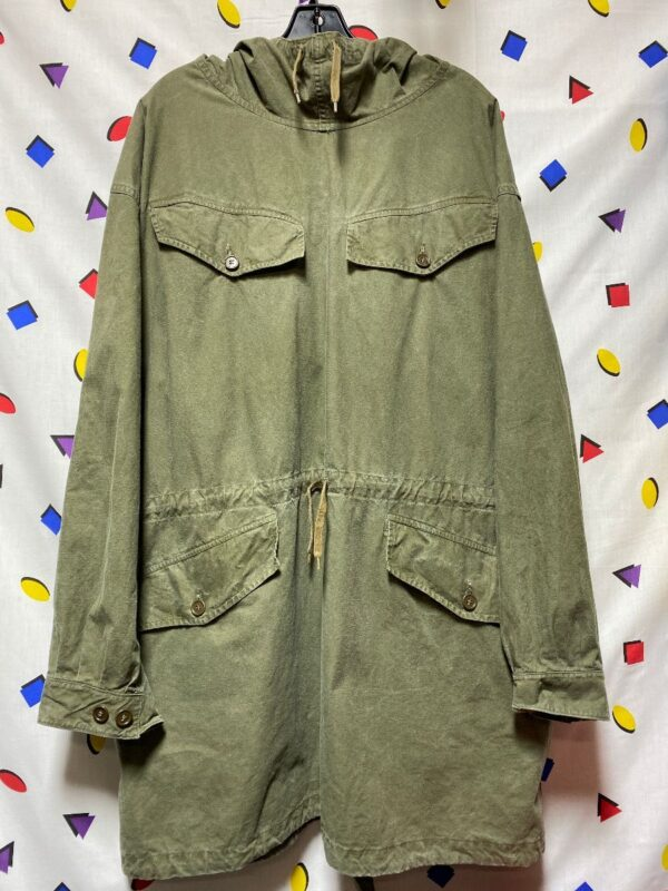 product details: 1960S FRENCH MILITARY HOODED ANORAK DRAWSTRING WAIST MULTI POCKET photo