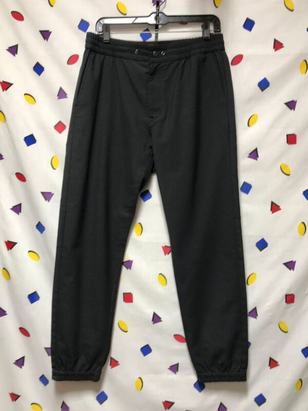 product details: JAPANESE DESIGNER WOVEN MENS JOGGER PANT WITH DRAWSTRING WAIST SNAP FRONT AND ZIPPER FLY photo